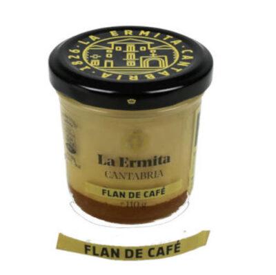 tarro de cristal con flan de cafe marca la hermita