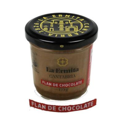 tarro de cristal de flan de chocolate marca la hermita