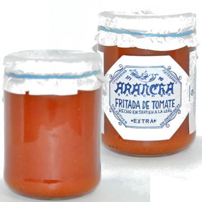 fritada de tomate en sarten en bote de cristal arancha