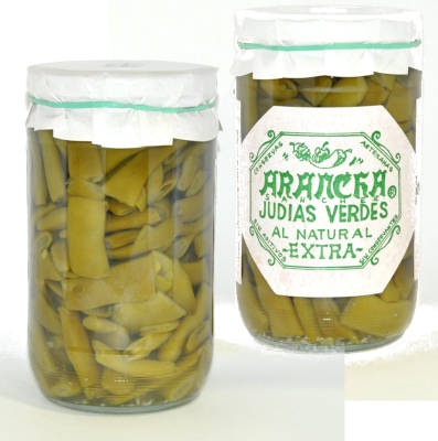 judias verdes al natural en un tarro de cristal marca arancha