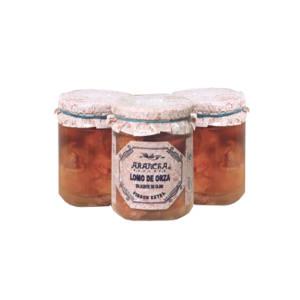 tres tarros de lomo de orza en aceite de oliva Arancha, lomo de cerdo en orza