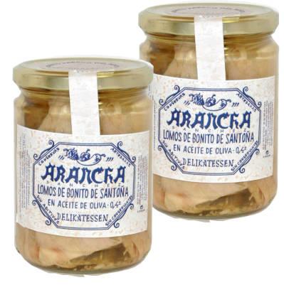 Lomo de bonito de Santoña del cantabrico en frascos delikatessen de cristal marca arancha