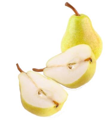 pera limonera entera y pera limonera cortada a la mitad