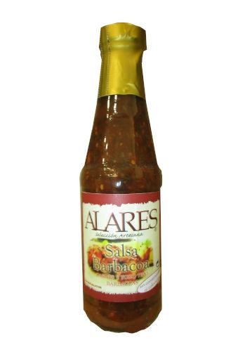Botella de cristal con salsa barbacoa