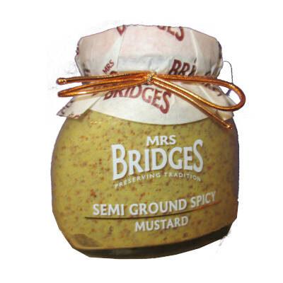 tarro de cristal con mostaza picante semi marca Mrs bridges