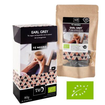 estuche de te earl grey y colsa con sobres de te earl grey y logo europeo de ecologico