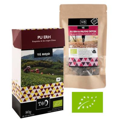 paquete con sobres de te rojo y sobre grande con bolsitas de te rojo de frutas detox y logo europeo de producto eco