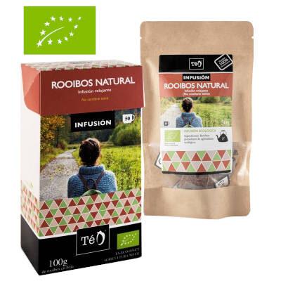 Caja de te rooibos y bolsa de te roibos sello europeo ecologicos