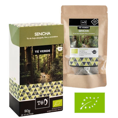 Caja de te verde sencha y bolsa con infusiones de verde sencha y logo de producto ecologico europeo