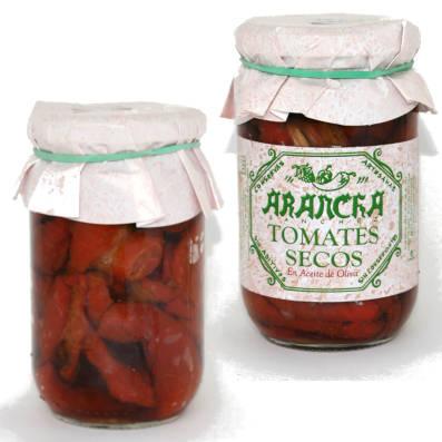 Tomate seco en aceite de oliva en tarros de cristal marca arancha