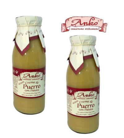 2 frascos de crema de puerro con patatas anko con imagen de logo de anko