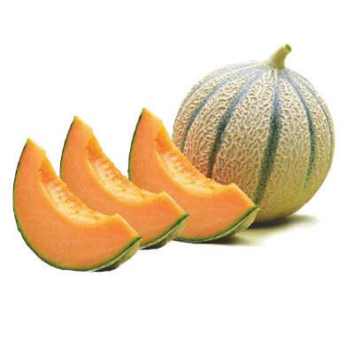foto con tres rodaja de melon cantaloupe y un melon cantaloupe entero