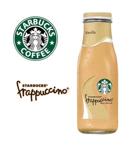 bote de Frappuccino de vainilla starbucks y logo de la marca starbucks