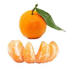 Mandarina hoja entera y mandarina hoja en trozos pelados