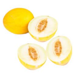 Melon amarillo canario ecologico partido a la mitad y melon amarillo canario entero
