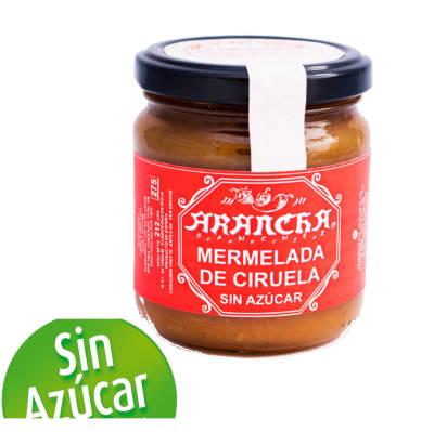 un tarro de mermelada-de-ciruela-sin-azucar-arancha-y logotipo de sin azucar