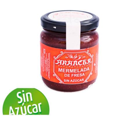 un tarro de cristal con mermelada de fresa sin azucar Arancha y un logo explicando que es sin azucar