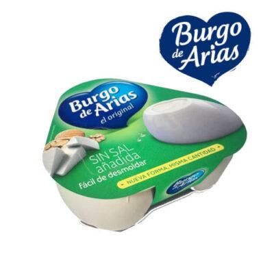 un paquete de queso-burgo-de-arias bajo en sal queso burgo de arias bajo en sal pack 3 y logo de la marca burgo de arias