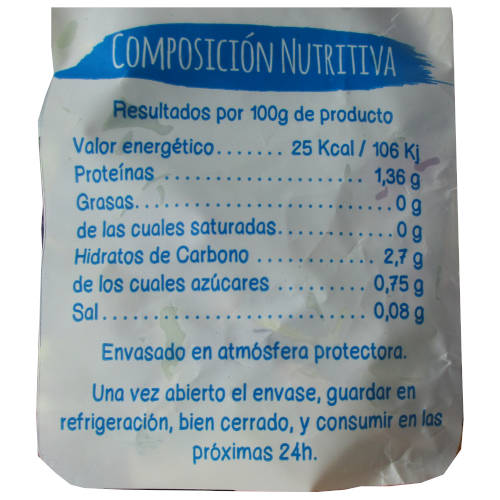 valor alimentario de ensalada mezclum de la marca el huertico