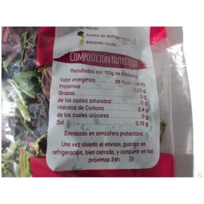 Valores nutricionales de ensalada summum