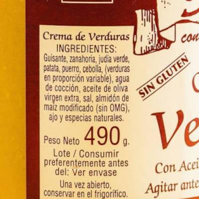 ingredientes de la crema de veruduras Anko