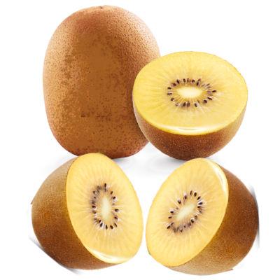 Un kiwi amarillo entero y otra kiwi amarillo partido en dos trozoskiwi gold partido a la mitad