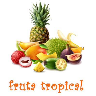 varias frutas tropicales, piña, mango,lichis,platanos, limas, fruta de la pasion