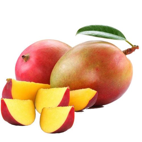 dos mangos palmer enteros y varios trozos partidos de mango palmer extra