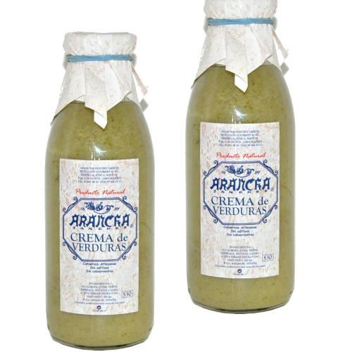 dos frascos de crema de verduras arancha
